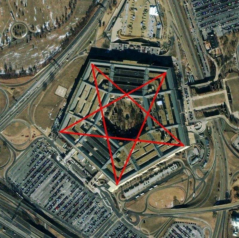 Even the most important building for U.S intelligence is openly built in the shape of a pentagram.