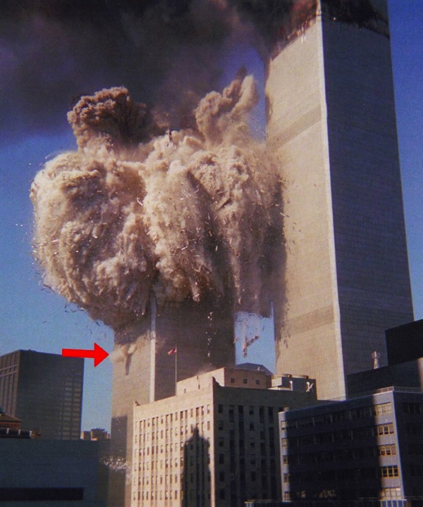 Odd how a floor located ten floors beneath the collapsing floors is blowing outward, huh?