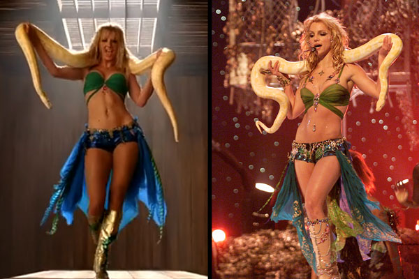 """Britney Spears in """"I'm a slave for you"""". Also notice serpent symbolism here - a topic we can devote articles to, but for now we'll leave you with this sexy picture"""